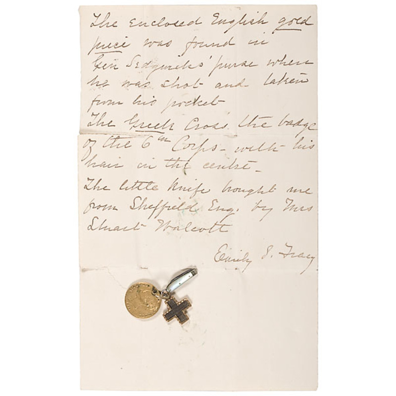 General John Sedgwick Relics, Including Corps Badge With Hair