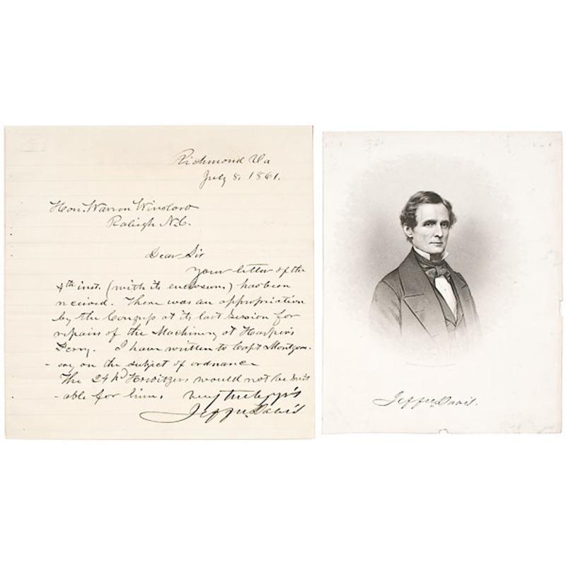 War Date President Jefferson Davis ALS