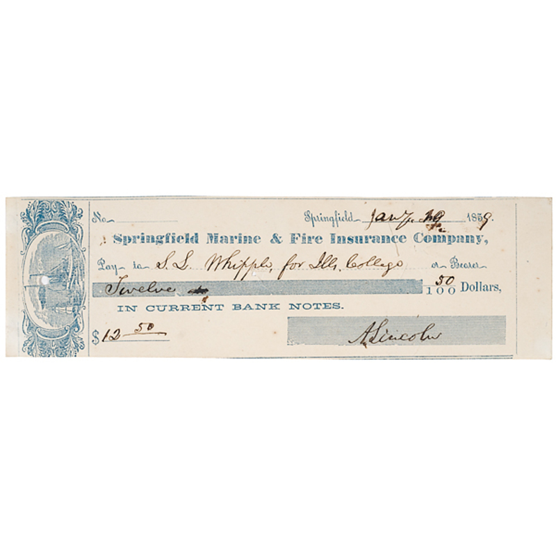 Abraham Lincoln Signed Check, Dated January 1859