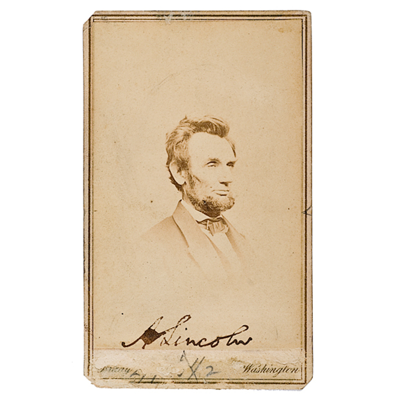 Abraham Lincoln Autographed CDV With Provenance