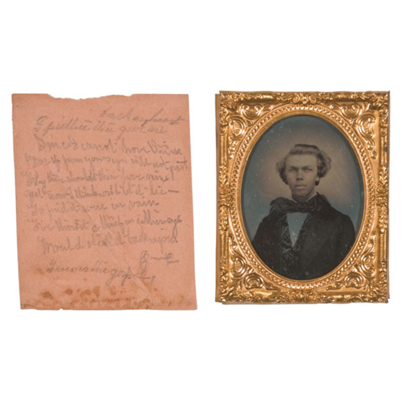 Ninth Plate Ambrotype of Young Man Plus Love Poem