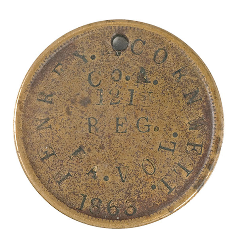 ID Disk of Henry Cornwell, Co. A., 121st PA Vols, DOW at Gettysburg