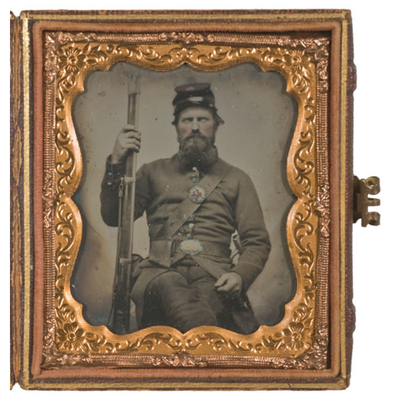 Sixth Plate Ambrotype of Armed 2nd Corps Soldier