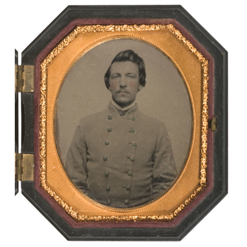 Sixth Plate Hexagonal Ambrotype of Confederate Lieutenant