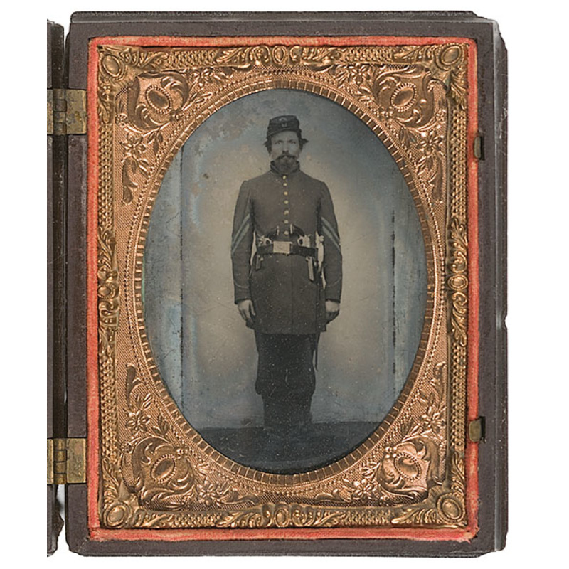 Quarter Plate Ambrotype of Armed Maine Corporal