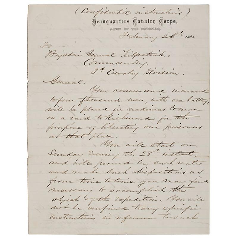 Alfred Pleasonton Signed Orders to Gen. Judson Kilpatrick Regarding Kilpatrick-Dahlgren Raid