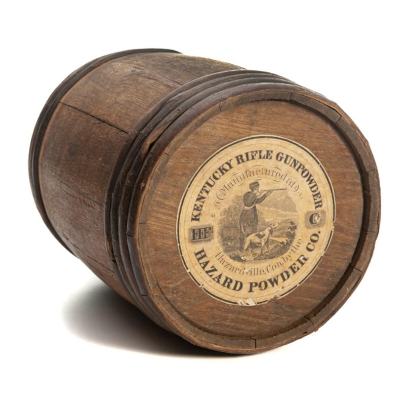 Kentucky Rifle Wood Gunpowder Keg.
