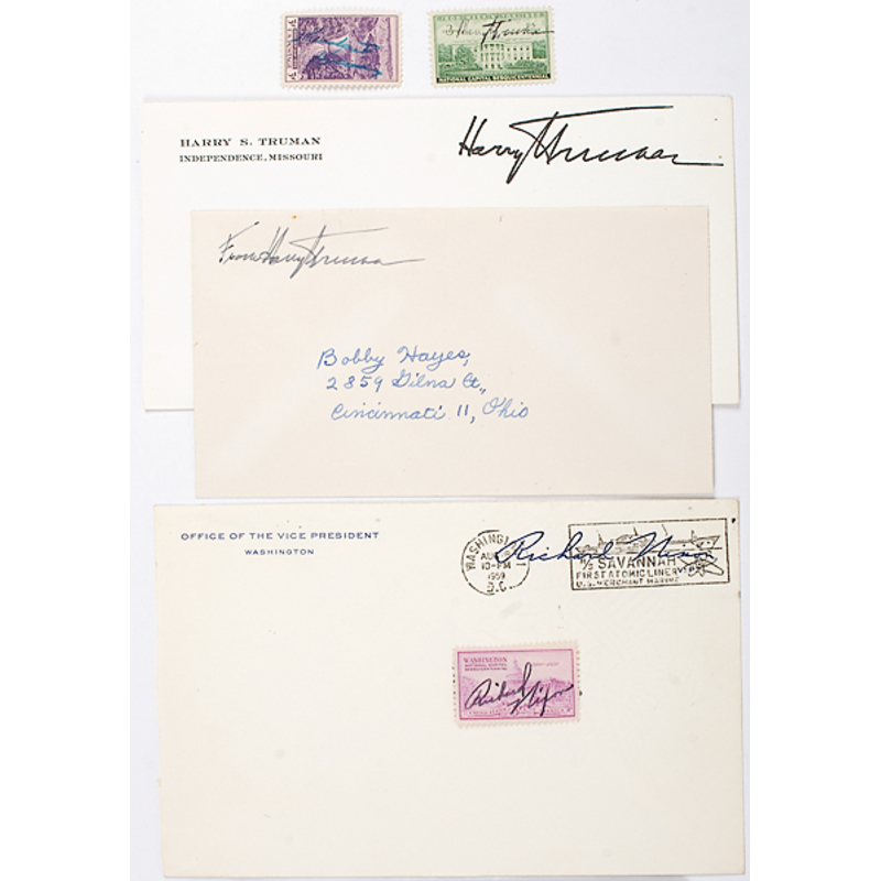 Presidential Signed Postage Stamps, Including Hoover, Truman, & Nixon