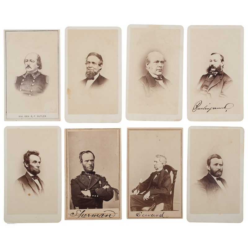 Civil War CDV Album Featuring Brady Views of Lincoln, Grant, Sherman, & Other Politicians, Plus California Studio Cartes