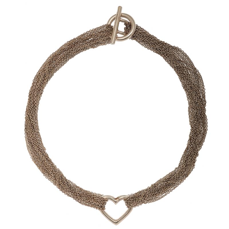 Tiffany & Co. Multi Chain Heart Toggle Choker Necklace
