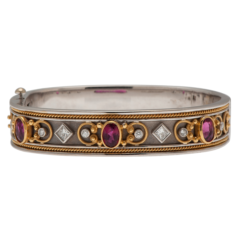 Ruby and Diamond Bangle Bracelet in 18 Karat Two Tone Gold