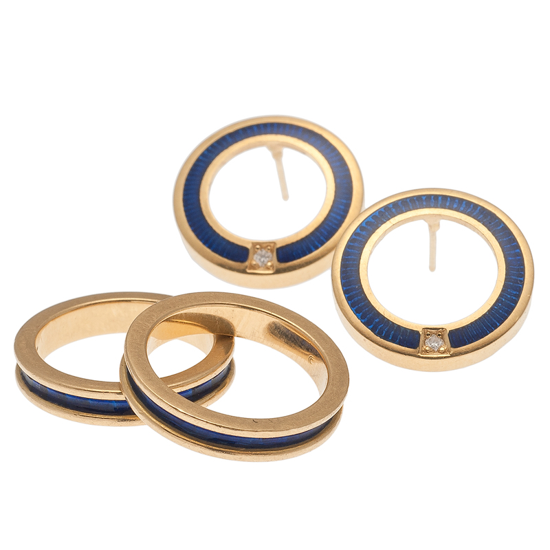 Guilloche Enamel Stack Rings with Matching Earrings in 18 Karat Yellow Gold