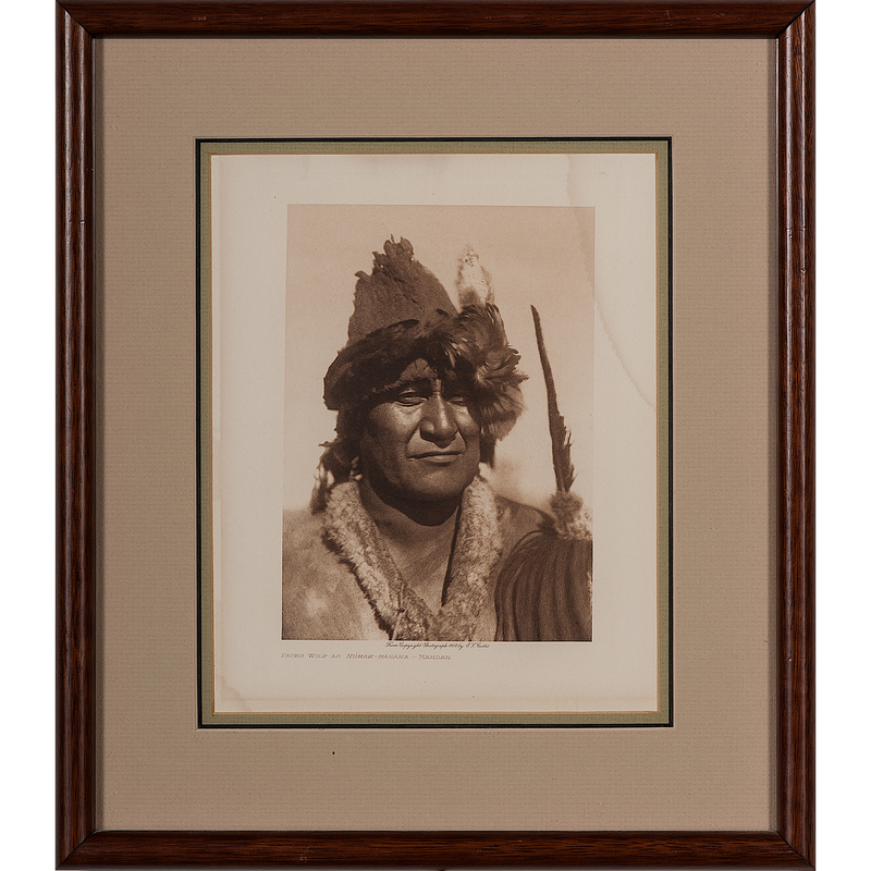 Edward Curtis (American, 1868-1952) Photogravure, Packs Wolf as Numak-Makaha - Mandan