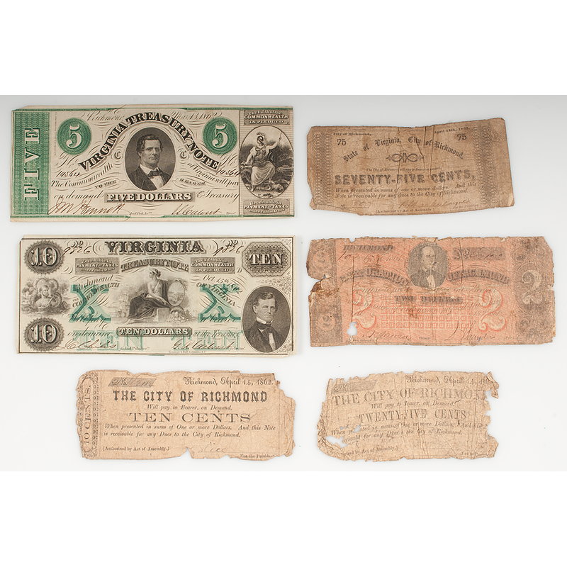 Confederate Paper Money from Virginia and City of Richmond