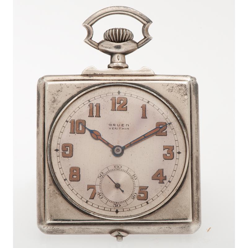 Gruen Verithin Bridge Case Pocket Watch in .875 Silver