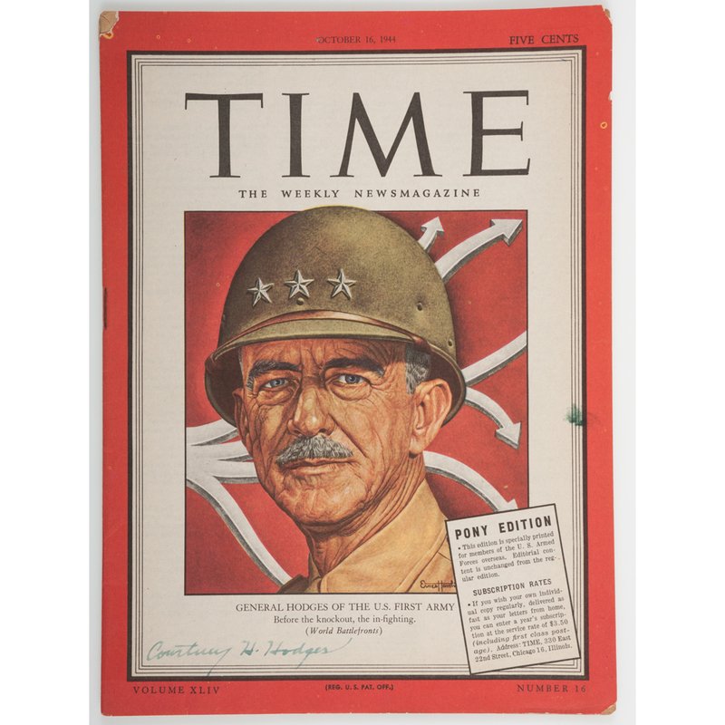 General Courtney Hodges Signed Time Magazine, Pony Edition, Plus Possible Patton Signed Item