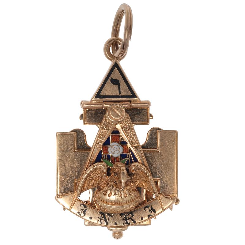 Masonic Fob in 14 Karat Yellow Gold with Enamel