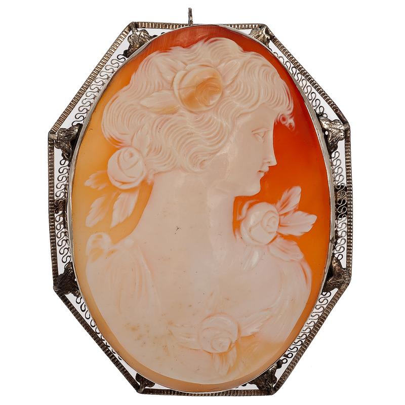 Cameo Brooch/Pendant in 14 Karat White Gold