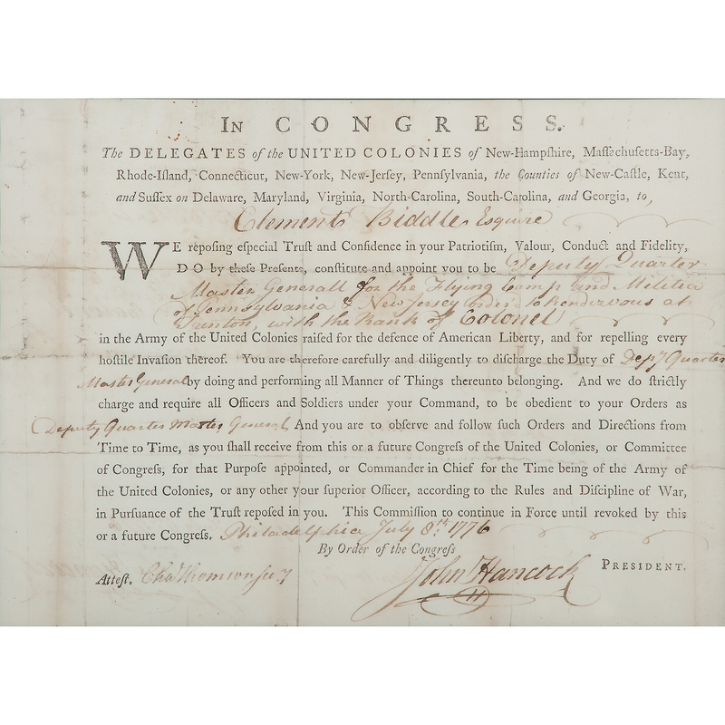 John Hancock Signed Commission Appointing Clement Biddle an Officer in the Continental Army, July 8, 1776