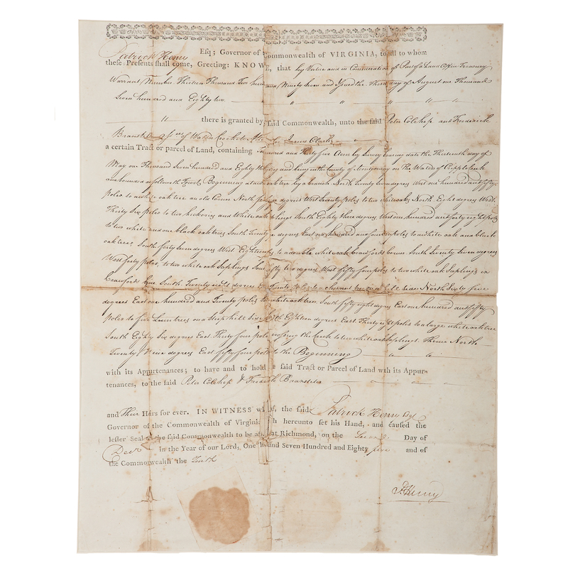 Patrick Henry Land Grant Signed as Governor of Virginia, 1785