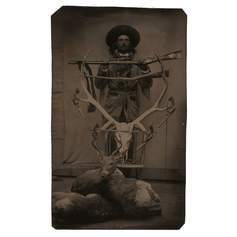 Outstanding Sixth Plate Tintype of a Young Buffalo Bill Cody Posed with Guns and Game