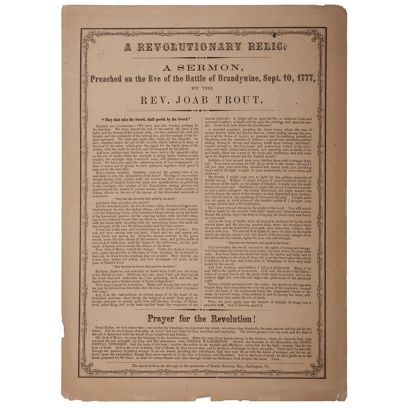 A Revolutionary Relic Broadside, A Sermon Preached on the Eve of the Battle of Brandywine, September 1777, by Reverend Joab Trout