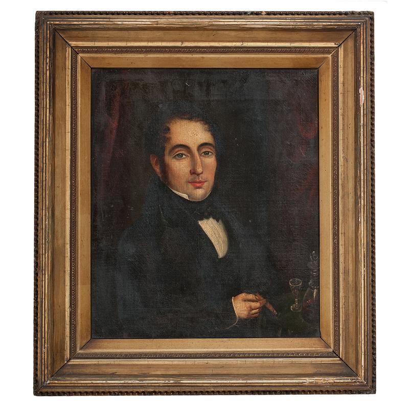 Folk Art Portrait of a Man With a Cheroot