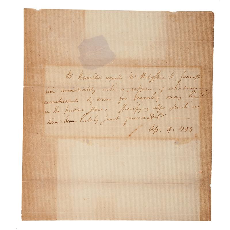 Alexander Hamilton ALS, September 1794