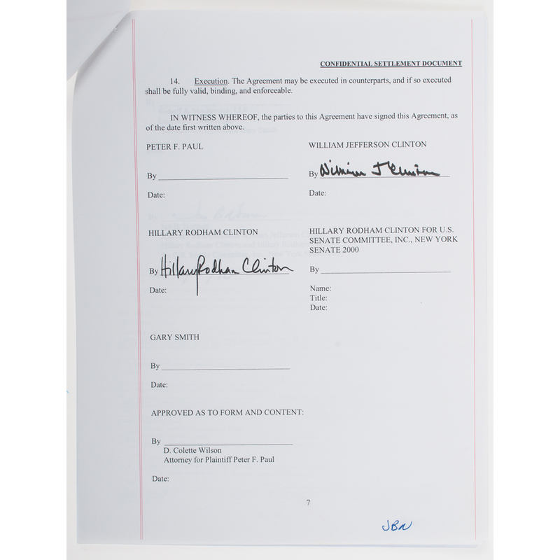 Bill Clinton Hillary Clinton Signed Settlement Agreement From