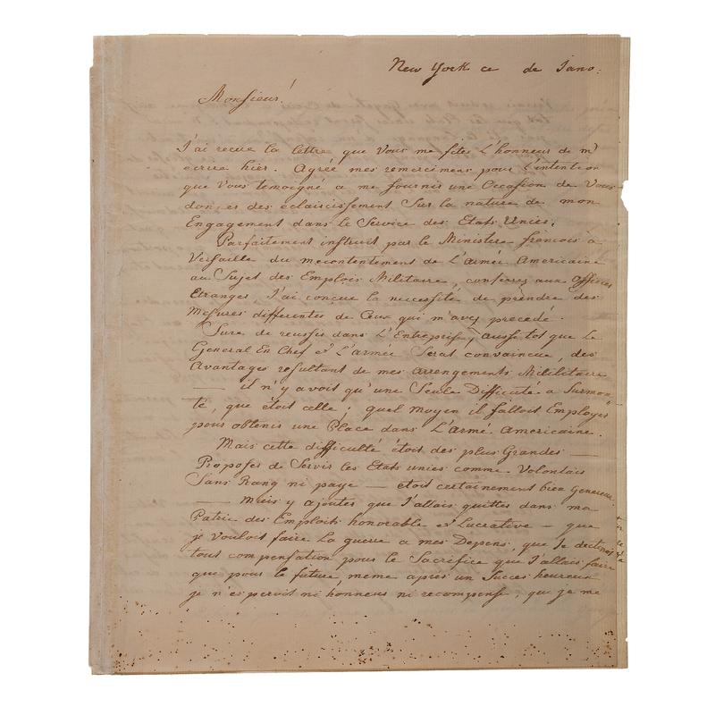 Friedrich von Steuben ALS, 1790