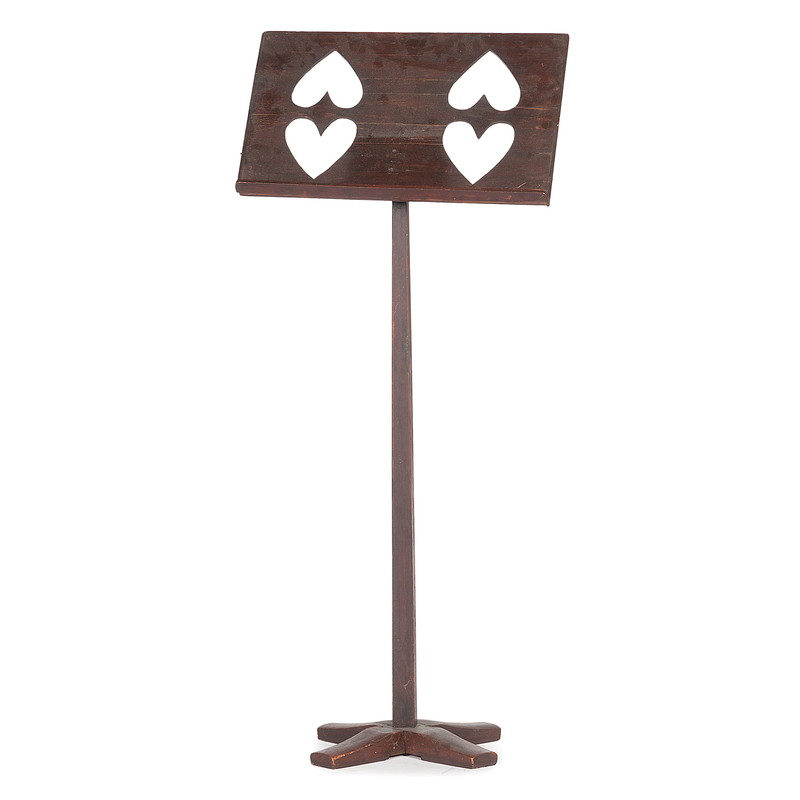 Folk Art Music Stand with Heart Cut-Outs