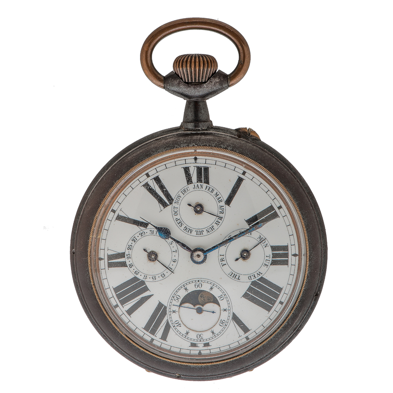 Antique Calendar Moonphase Pocket Watch in Gun Metal