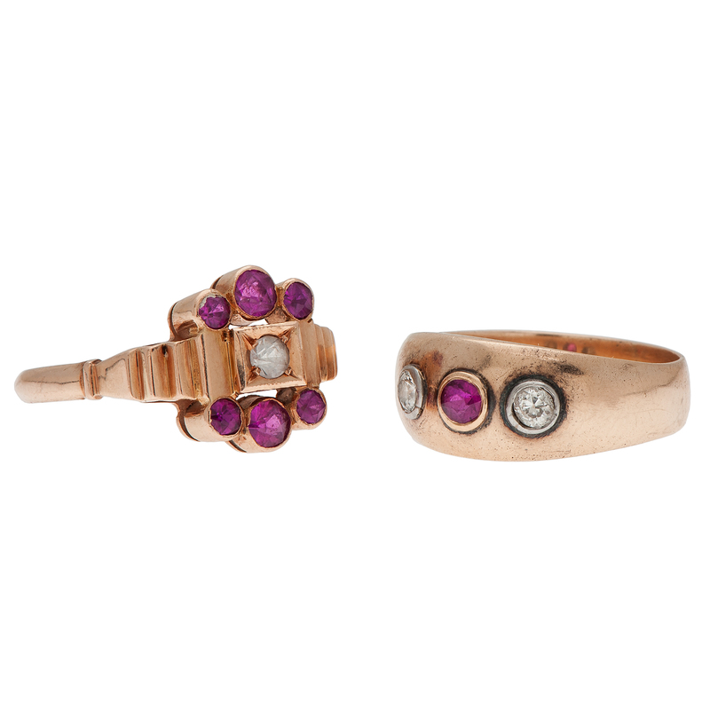 Ruby Rings in Rose and Yellow Gold