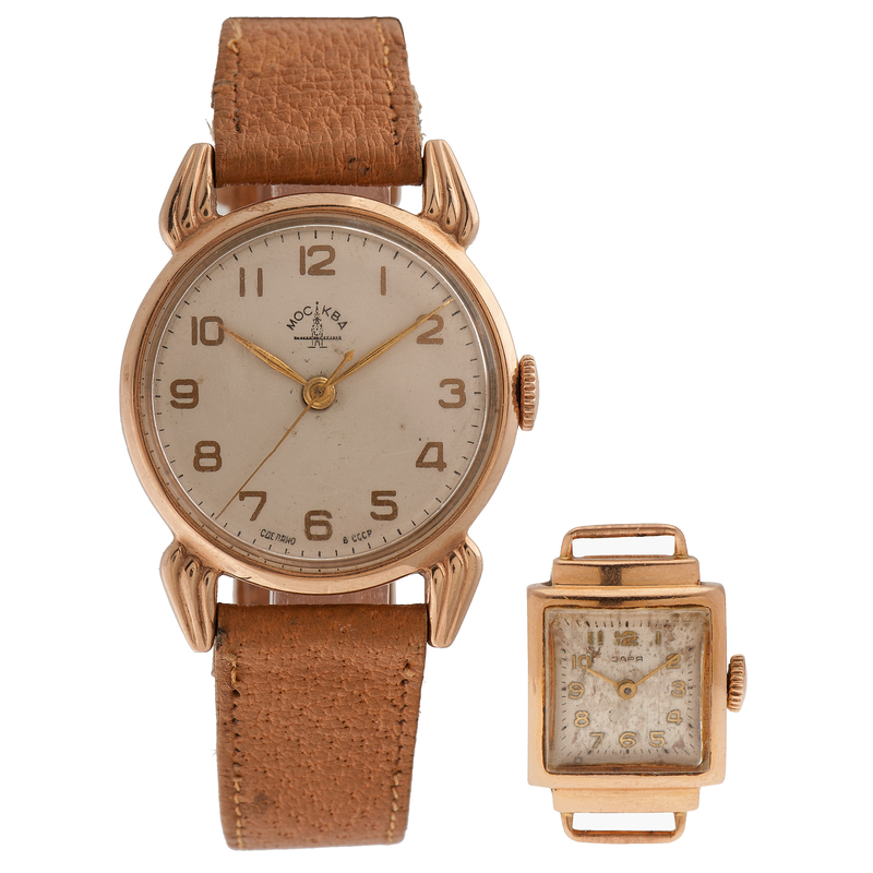 Russian Mockba and 3APR Wrist Watches in 14 Karat Rose Gold