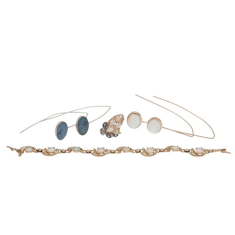 Opal Grouping in 14 Karat Gold and Silver