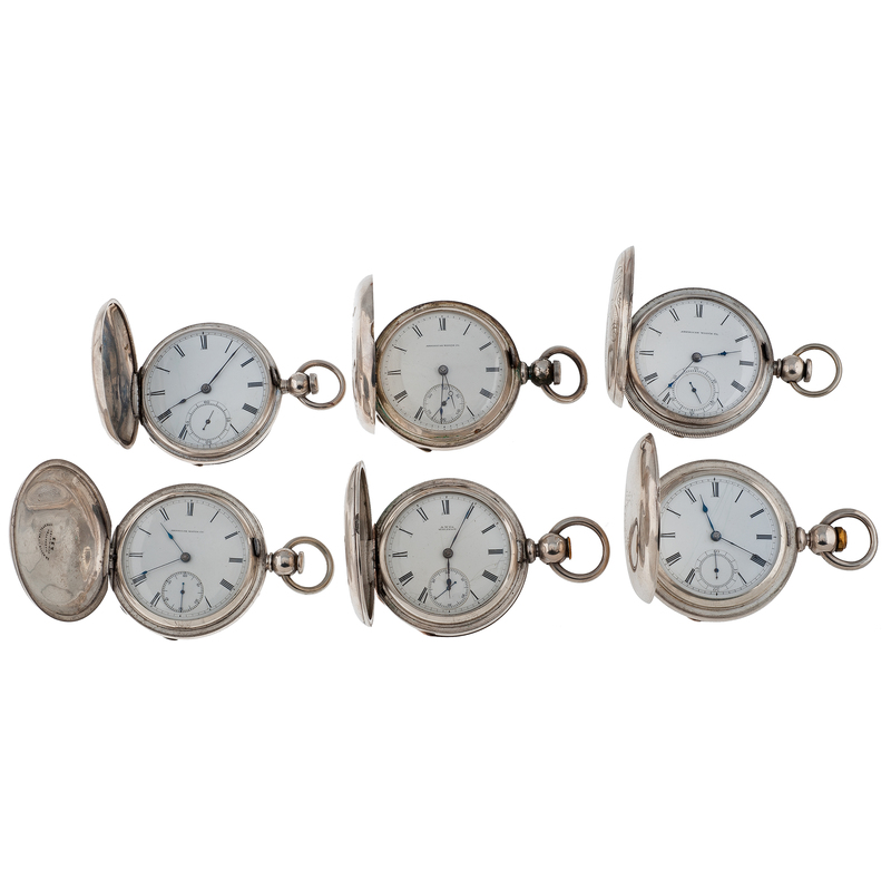 American Watch Co Coin Silver Hunter Case Pocket Watches