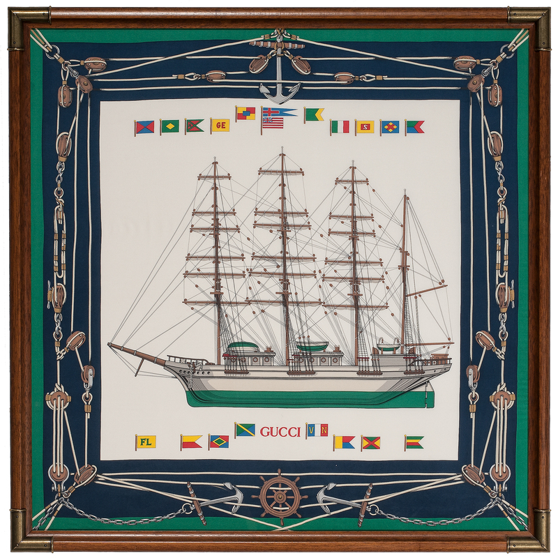 Gucci Nautical Themed Framed Silk Scarves