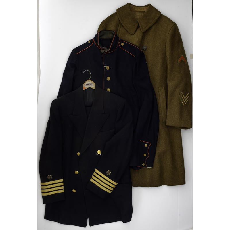 Overcoat And Army Dress Blues And Marine Tunic Lot Of