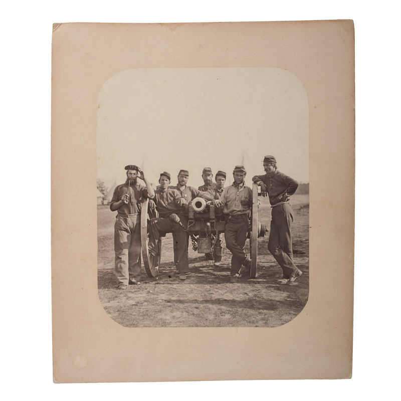 Civil War Albumen Photograph of Soldiers Posed with a Six-Pound Gun