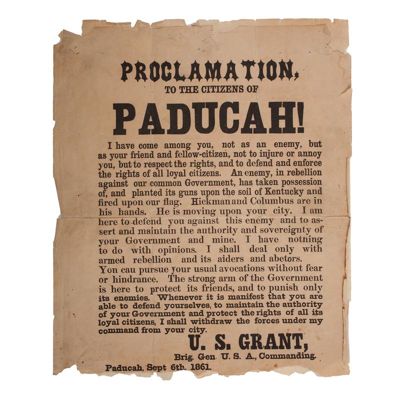 Rare U.S. Grant, Paducah, Kentucky Broadside, 1861