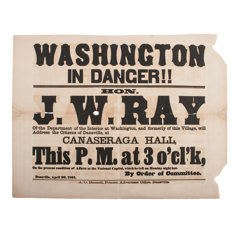 Washington in Danger!, Early Civil War Political Broadside, 1861