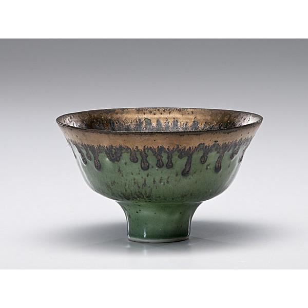 Masterworks: Lucie Rie Dark Green Bowl with Bronze Rim