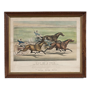 Currier & Ives Lithograph Won By a Neck