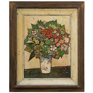 Still Life of Flowers by Henry Faulkner, Oil on Board