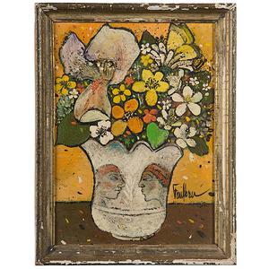 Still Life in Faces Vase by Henry Faulkner, Oil on Board