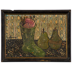 Still Life with Boot and Pears by Henry Faulkner, Oil on Board