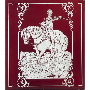 Ruby Etched Glass Portrait of Mounted Washington,