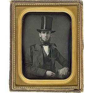 Half Plate Daguerreotype of a Man in Top Hat,