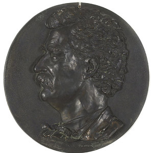 Mark Twain Bronze Medallion Sculpture,