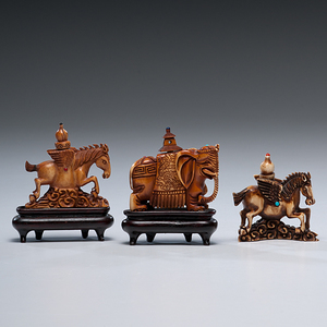 Chinese Carved Ivory Snuff Bottles